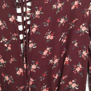 American Eagle Outfitters Pants & Jumpsuits - American Eagle Outfitters Maroon Floral Romper